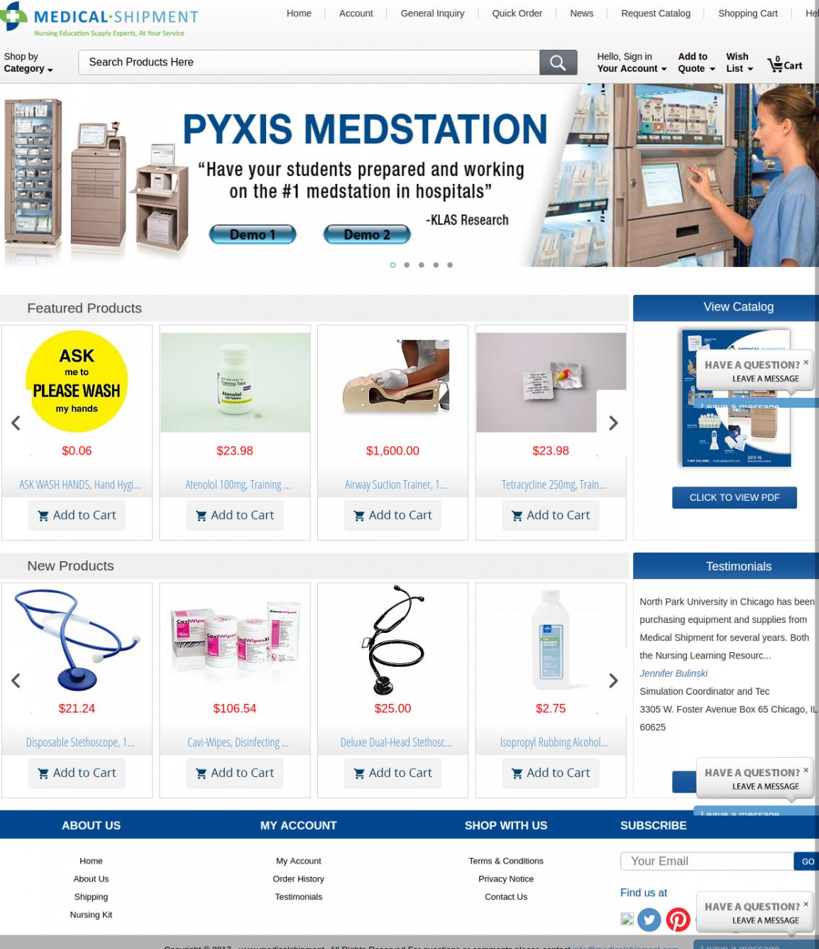 Medical Shipment - Website Management Services
